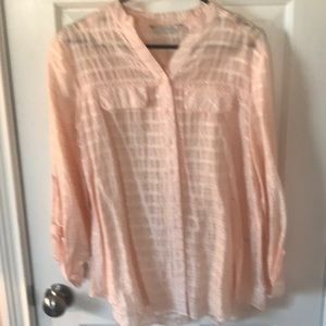 Peachy pink and silver Erin London blouse